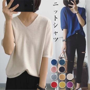 高品質パフ·スリーブニットシャツ/トップス/ニット無地/スプライス/リラックス/韓国レディースファッションカットソー 二の腕を隠すTシャツ