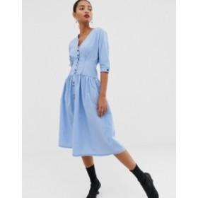 エイソス レディース ワンピース トップス ASOS DESIGN cotton midi dress Pale blue