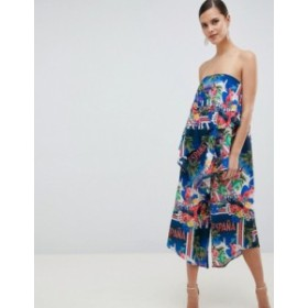 エイソス レディース ワンピース トップス ASOS DESIGN Bandeau Jumpsuit In Tropical Vacation Print Multi