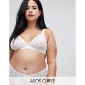 エイソス レディース ブラジャー アンダーウェア ASOS DESIGN Curve Roxy lace triangle bra White