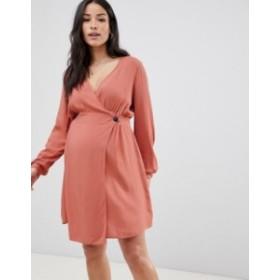 エイソス レディース ワンピース トップス ASOS DESIGN Maternity casual wrap mini dress Rose pink