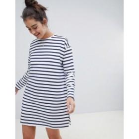 エイソス レディース ワンピース トップス ASOS DESIGN sweat dress in stripe with long sleeves White/blue