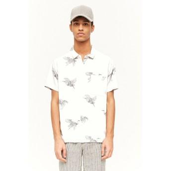 シャツ - FOREVER 21【MEN】 【バードプリントシャツ】白 ホワイト XS S M 半袖シャツ カジュアルシャツ