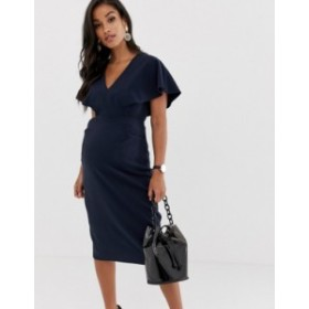 エイソス レディース ワンピース トップス ASOS DESIGN Maternity angel sleeve midi pencil dress Navy