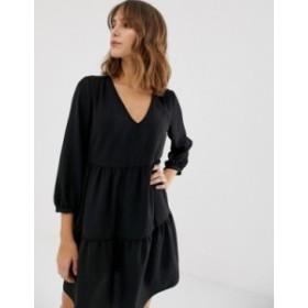 ニュールック レディース ワンピース トップス New Look tiered smock dress in black Black