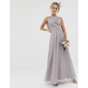 エイソス レディース ワンピース トップス ASOS DESIGN Bridesmaid cross front soft drape maxi dress Dove grey