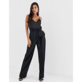 エイソス レディース ワンピース トップス ASOS DESIGN paperbag waist cami jumpsuit Black