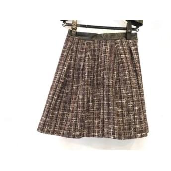 【中古】 ロイスクレヨン Lois CRAYON スカート サイズM レディース 黒 マルチ ツイード/レザー