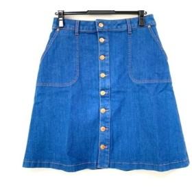 【中古】 ヒューゴボス HUGOBOSS スカート サイズM レディース 美品 ブルー デニム