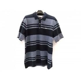 【中古】 ラコステ Lacoste 半袖ポロシャツ サイズ5 XL メンズ ネイビー 白 ボーダー