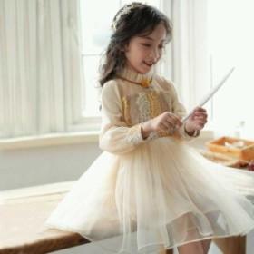 b5a6332e81b0f 子どもドレス 長袖 ハイウエスト ワンピース キッズ 結婚式 演奏会 二次会 子供服 女の子 ワンピース