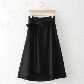 SALE【アマカ(AMACA)】 *STORYコラボ*ナチュラルスラブスカート ブラック