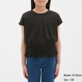 (GU)GIRLSウエストギャザーT(半袖) BLACK 110