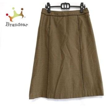 ジユウク ロングスカート サイズ46 XL レディース 美品 ライトブラウン×ダークブラウン スペシャル特価 20190814