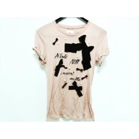 【中古】 ランバンオンブルー 半袖Tシャツ サイズ38 M レディース ピンク 白 黒 フェイクパール