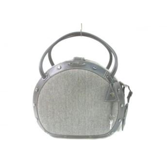 【中古】 サムソナイト Samsonite ハンドバッグ 美品 黒 白 ジャガード レザー