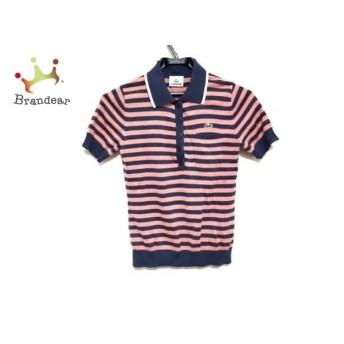 ラコステ 半袖ポロシャツ サイズ38 M レディース 美品 ピンク×ネイビー×白 ニット/ボーダー スペシャル特価 20190717