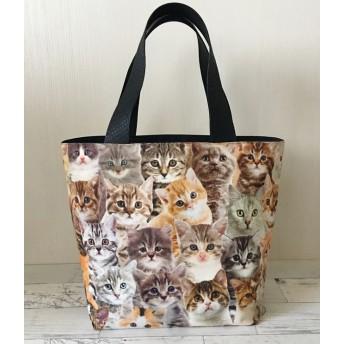 リアル猫ちゃん柄のシンプルトートバッグ