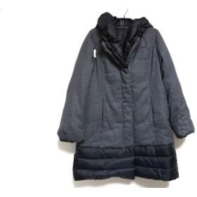 【中古】 ヒロココシノ HIROKO KOSHINO ダウンコート サイズ40 M レディース グレー 黒 冬物