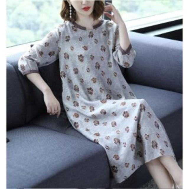 ワンピース コットンリネン レディース 綿麻混 ロング丈 ゆったり 体型カバー 30代 40代 50代 七分袖 ワンピ 大きいサイズ