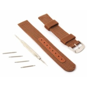 ナイロン製 腕時計 バンド ベルト 18mm ストラップ ブラウン【新品/送料込み】