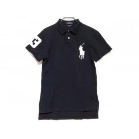 【中古】 ポロラルフローレン 半袖ポロシャツ サイズXS レディース ビッグポニー 黒 白