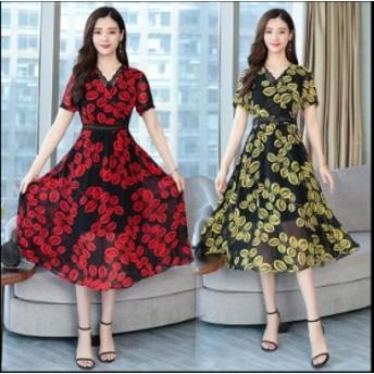 成人式 Aライン ワンピース シフォン Vネック ファッション 女性 大きいサイズ 通勤 シンプル フォーマル オフィス カジュアル 30代 40代