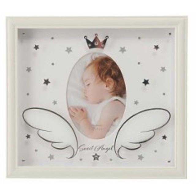 ガラスフォトフレーム ベビー  フォトフレーム 写真立て かわいい 出産祝い 天使雑貨