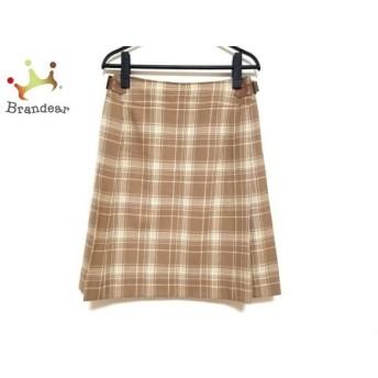 ジユウク スカート サイズ38 M レディース 美品 ライトブラウン×アイボリー チェック柄 スペシャル特価 20190814