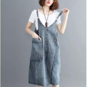 カジュアル デニム ワンピース ゆったり ラップ風 ジャンパースカート 夏服 秋服 韓国 ファッション