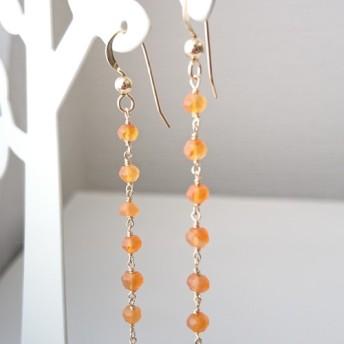 オレンジ色天然石カーネリアンのロングピアス