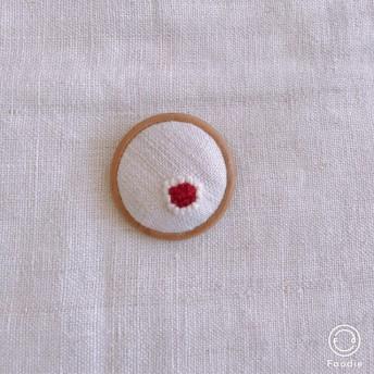 アンティークリネン 刺繍ブローチ お花