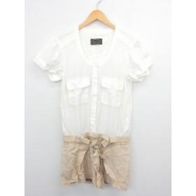 【中古】Broderie&Co ナノユニバース ワンピース 切り替え 膝丈 半袖 シャツ ノーカラー ポケット 38 ホワイト ブラウン