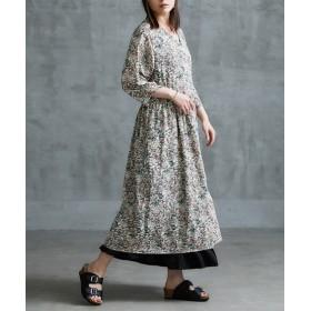 【ゆったりワンサイズ】秋まで長く着られる2WAY総柄ワンピース (ワンピース),dress