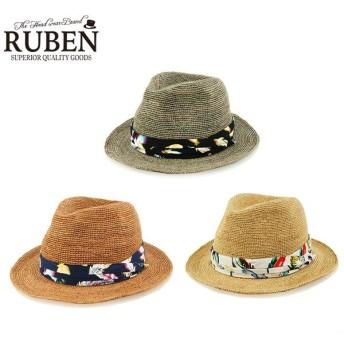 「夏ゴルフの必需品」 ルーベン ミドル ブリム 小鳥 麦わら帽子 RUS-1204 ラフィア素材 Ruben