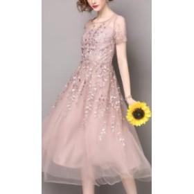 春夏 おすすめ 新作ドレス レースのお袖 お花 刺繍入り パステルカラー シフォン ひざ下丈 ふんわり ピンク