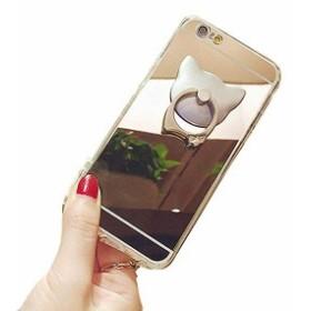 iPhone ミラー スリムデザイン TPU ソフト 5/5s/SEケース シンプル かわいい猫型 ... 軽量 バンカーリング