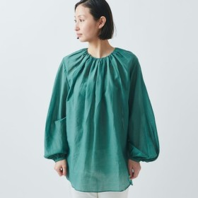 【送料無料】enrica cottonsilk blouse green/ botanical dye