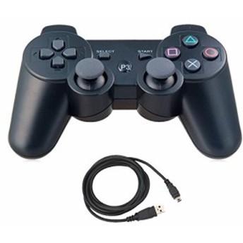 新品 Pueleo PS3用 ワイヤレス デュアルショック3 ワイヤレスコントローラー互換 日本語説明書 USB ケーブル付属(黒) 在庫限り