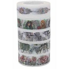 文房具好き女子に人気のマスキングテープ[ad1] マスキングテープ 5巻セット 幅15mm×8m シール