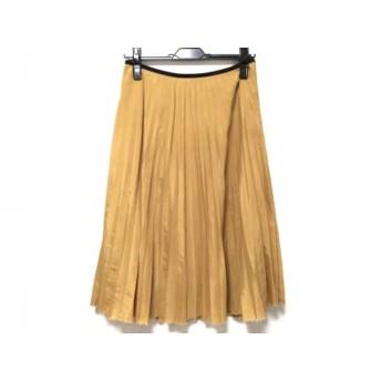 【中古】 サクラ SACRA スカート サイズ36 S レディース イエロー 黒 切りっぱなし加工/プリーツ