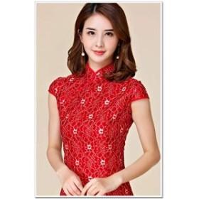 レディース 半袖 チャイナドレス ミニ丈 パーティー きれいめ 赤 M L LL 3L 4L 大きいサイズ