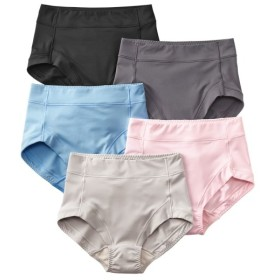 お腹脚口らくちん。つるんとストレッチ深ばきショーツ5枚組 スタンダードショーツ,Panties