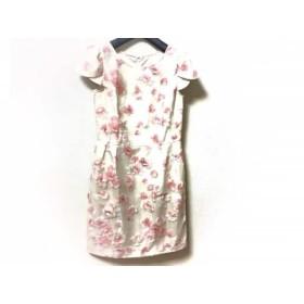 【中古】 デビュードフィオレ ワンピース サイズ38 M レディース アイボリー ピンク 白 花柄
