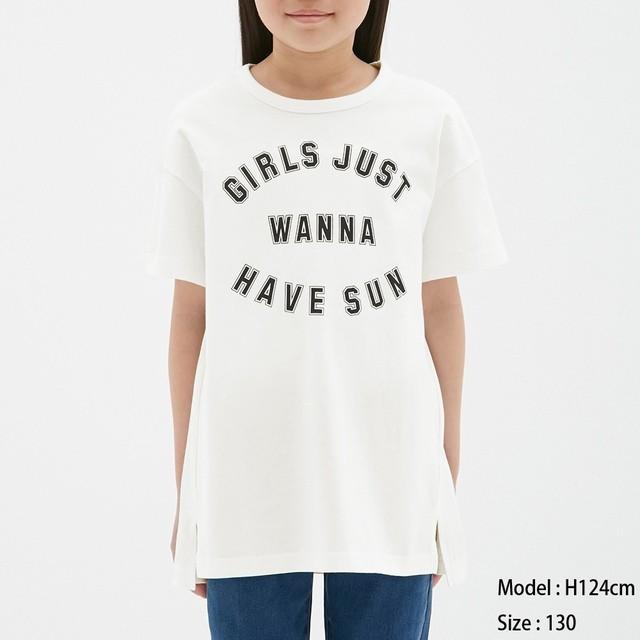 (GU)GIRLSロゴプリントチュニック(半袖) OFF WHITE 110