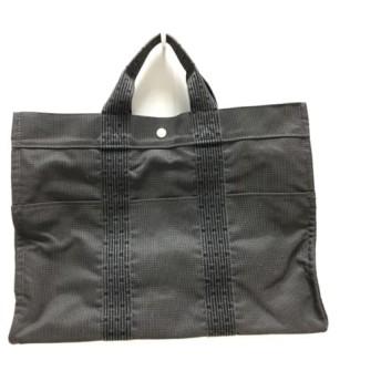 【中古】 エルメス HERMES ハンドバッグ エールライントートMM ダークグレー 黒 旧型金具