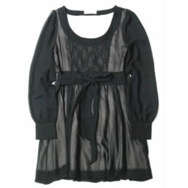 deicy デイシー Uネックレースチュニックワンピース 33507 ブラック 長袖 シースルー リボン 刺繍