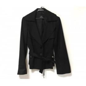 【中古】 ダブリュービー wb ジャケット サイズ40 M レディース 美品 黒 リボン/トレンチ風