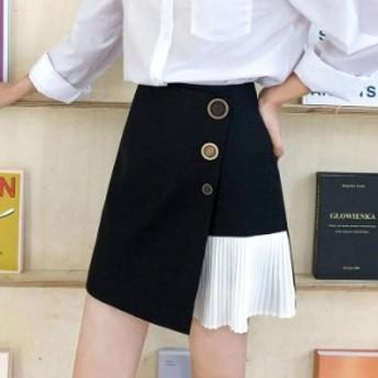 【レディース春夏】カジュアル 個性的 アシンメトリー 細プリーツ 前ボタン ラップスカート風ミニスカート Aライン ブラック アイボリー