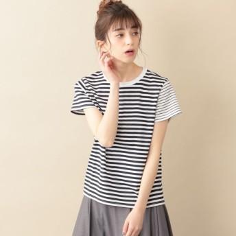 SALE【ル ジュール(LE JOUR)】 【DIRECTED BY KISHIKO MAEDA】アシンメトリーパターンボーダーTシャツ オフホワイト